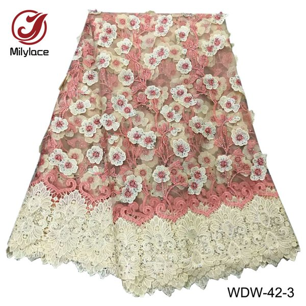 Pretty african lace fabric with rhinestones embroidery beads tulle lace material french net lace fabric for party WDW-42