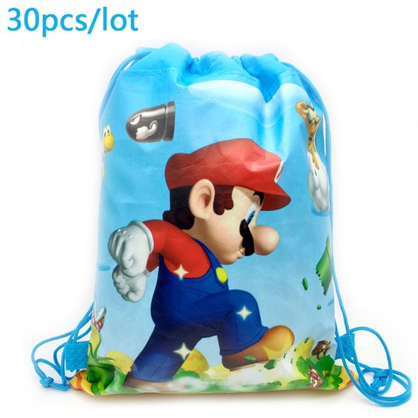 Super Mario Theme Baby Shower Mochila Events Party Boys Favors Happy  Birthday Decoration Blue Drawstring Gifts Bags Luxury Christmas Gift Wrap  Luxury