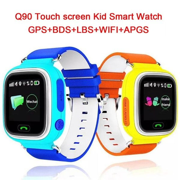 Q90 GPS Phone Positioning Fashion Children Watch 1.22 inch Color Touch Screen WIFI SOS LBS Smart Watch Baby With Retail Box 5 Colors