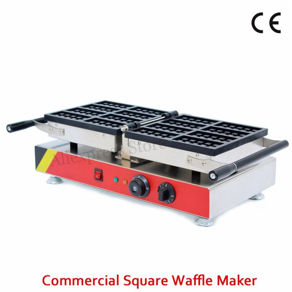 Commercial Non-stick 8 Moulds Small Rectangle Waffle Machine Belgian Waffle Baker Maker 1500W 220V 110V Food Street Snack