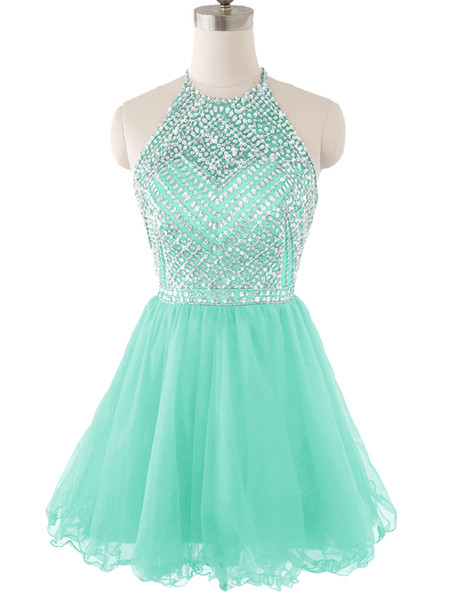 Short Prom Party Dresses Homecoming Gown A Line Sheer Neck Tulle Backless Mint Lalic Red Truqoise Pleats Beads Crystals Party Cocktail