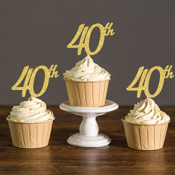 Gold/Silver/Black Glitter Forty Birthday Cupcake Toppers,40th Birthday Party Picks Decoration Favors Cake Decorations Supplies