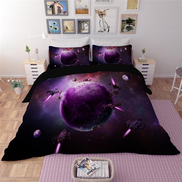 Ensembles de literie série 2018 planète mauve univers violet Voie lactée ensemble de housse de couette ufo ciel étoilé Pas de limite 3 / 4pcs Draps
