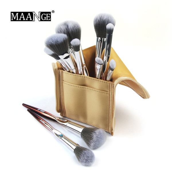 2018New Arrival 10Pcs/Set Makeup Brushes Set Beauty Make Up Brush & Leather Cosmetic Bag Eye Shadow Shadow Eyebrow Lip Powder Comestic Tool