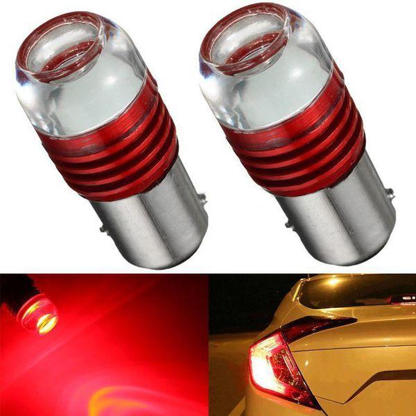 2pcs 1157 2357 5-times Strobe Flashing Red LED Bulbs For Rear Brake Tail Lights