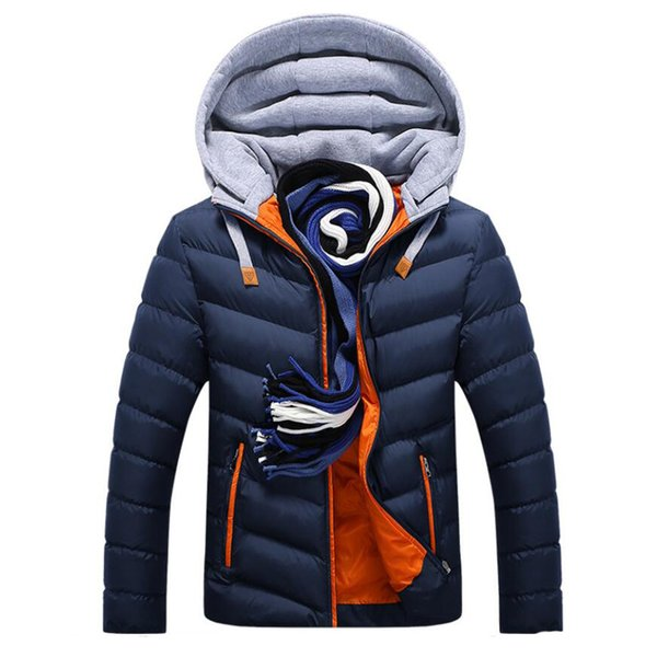 2018 New Winter Men Fashion Cotton Padded Parkas Warm Down Jacket Casual Parka Male Jacket Casual Slim Fit Hooded Coat
