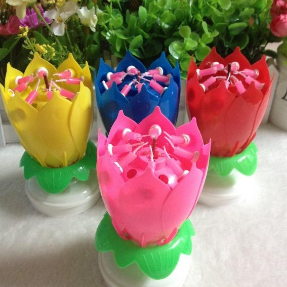 2 Layer Petals Music Candle Children Birthday Party Lotus Sparkling Flower Candles Squirt Blossom Flame Cake Accessory Gift 200pcs wn371