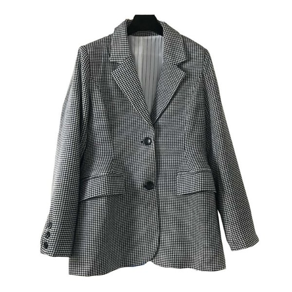 QLZW 2018 New Autumn And Winter Korean Fashion Women Office Lady Wear Plaided Gray Single Breasted A-line Blazer WB92002L