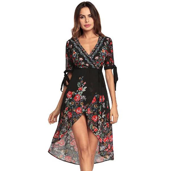 Compre Vestido Estampado Bohemio De Primavera 2018 Vestido De Gasa Con Cuello En V Falda De Playa Vestido De Manga Corta Vestido Irregular Vestidos