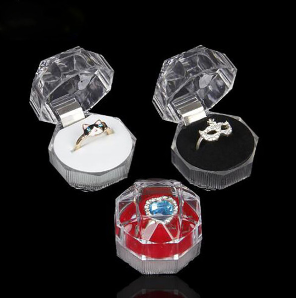 top popular Jewelry Package Boxes Ring Holder Earring Display Box Acrylic Transparent Wedding Packaging Storage Box Cases 2021