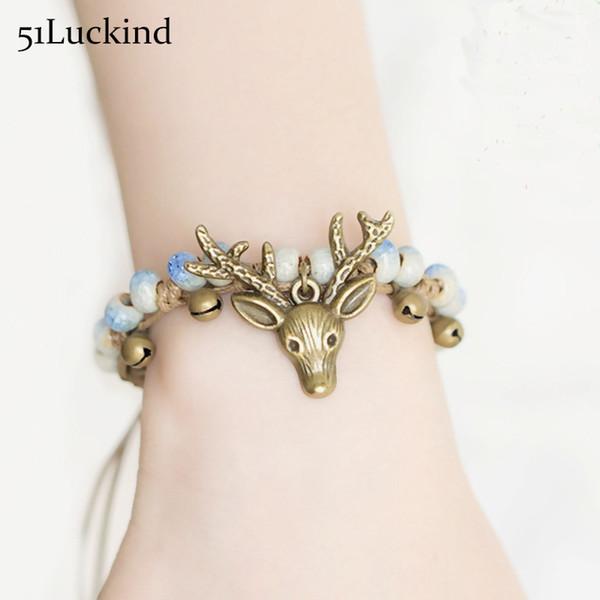 Fashion Hand Braided Rope Deer Christmas Bracelet Fancy Deer Bell Ceramic Beads Braslet For Women Girls Kids Christmas Gift