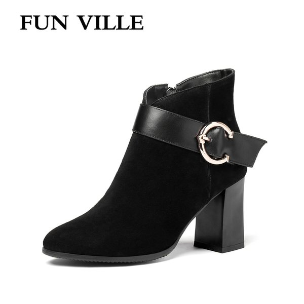 FUN VILLE 2018 Herbst Winter Neue Mode Damen Stiefeletten Kid Wildleder High Heels sexy Damen Schuhe Spitz Zipper Reißverschluss Größe 34-45