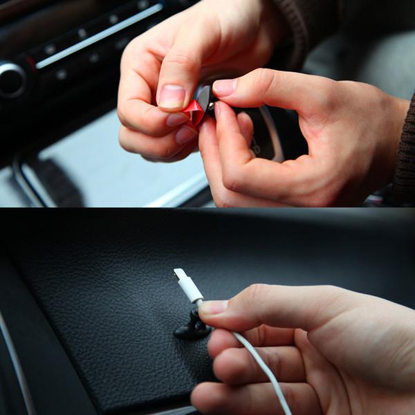 8 Unids / set Autoadhesivo Auto Charger Line Corchete Abrazadera Organizador de Cable para Auriculares Cable USB Tie Fixer Cable Del Coche titular