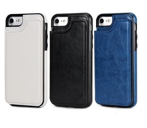 Wholesale mobile cellphone case For Iphone 6S X 7 8 mobile cell phone case cover business leather wallet case with credit cards slots
