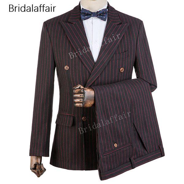 Gwenhwyfar темно-серый жених смокинги полосы печатных мужской костюм набор для свадьбы выпускного вечера Slim Fit мужские костюмы набор 2шт 2018 (куртка + брюки)