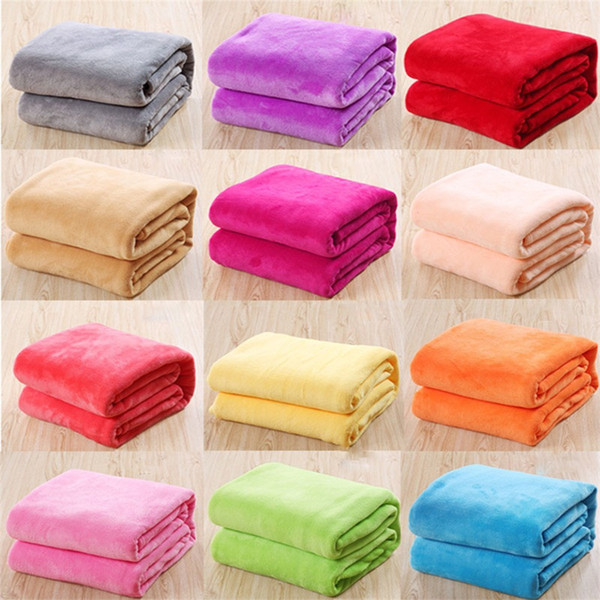Kids Solid Color Flannel Blankets Winter Warm Blankets Sofa children Swaddling 50*70cm baby bed sheet C3743
