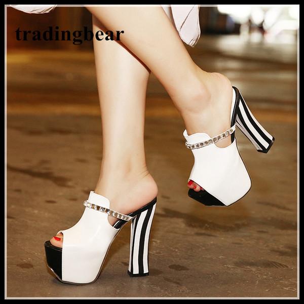 14 cm siyah beyaz çizgili taklidi kalın yüksek topuklu platformu terlik ayakkabı kadın tıknaz topuk sandalet ...