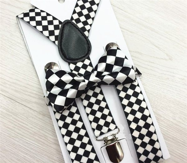 2.5X65cm plaid children boys girls student Y-back Suspenders bow tie set Clip-on Elastic braces kids designer belts trousers shoulder Straps
