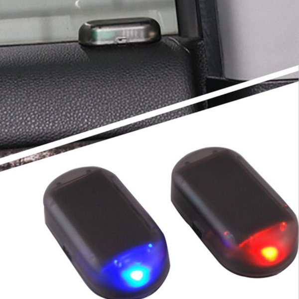 Car LED Alarm Lights Simulate Imitation Fake Solar Security System Warning Flash Anti-Theft Lamp Universal Interior Decoration