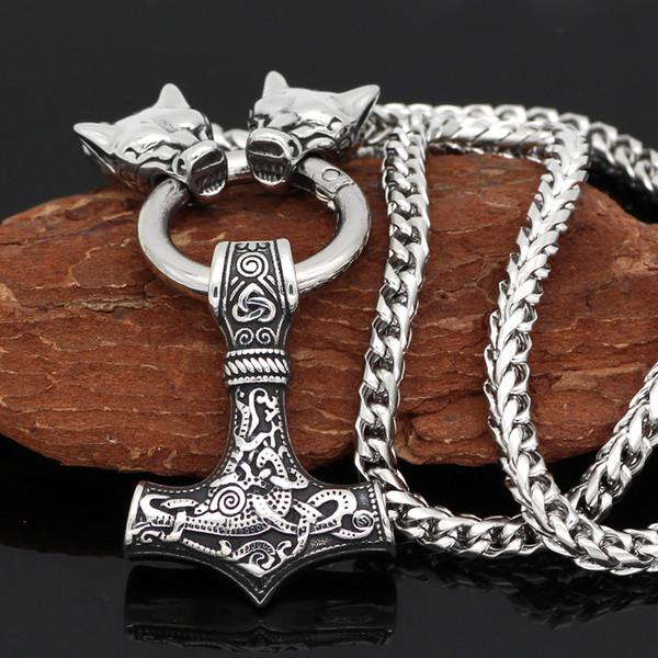 Uomini acciaio inox viking oidn testa di lupo con martello Thor collana pendente MJOLNIR-Catena di drago