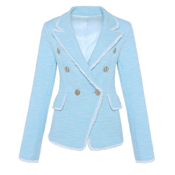 ALTA QUALITÀ New Fashion 2018 Designer Blazer Nappa femminile Fringe metallo leone bottoni doppio petto giacca giacca Tweed S18101305