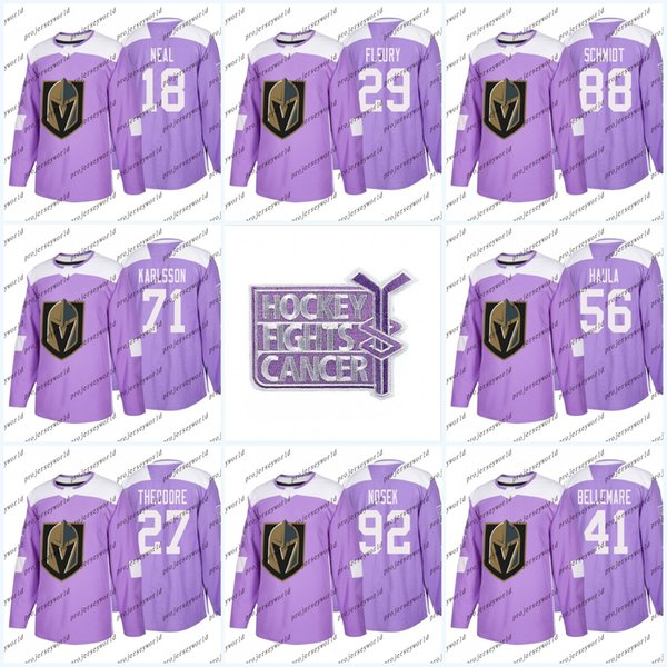 Youth 29 Marc-Andre Fleury Purple Fights Cancer Practice Vegas Golden Knights 18 James Neal 4 Clayton Stoner 24 Brad Hunt Hockey Jerseys