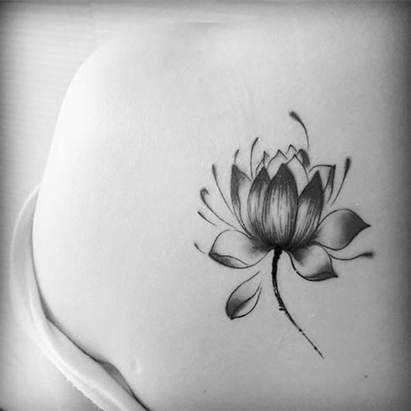 Pegatinas de flor de loto negro a prueba de agua mujer tatuaje de flor de loto tatuaje temporal pegatinas de arte corporal temporal a prueba de agua