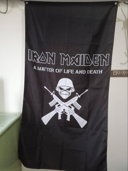 Iron Maiden Flag 90 x 150 cm Poliéster Heavy Metal Rock Band Música Colgante de pared Banner