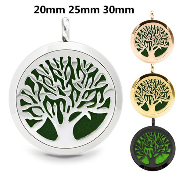 1 pcs rodada árvore da vida (20-30mm) aromaterapia / óleos essenciais de aço inoxidável colar de medalhão difusor de perfume com almofadas