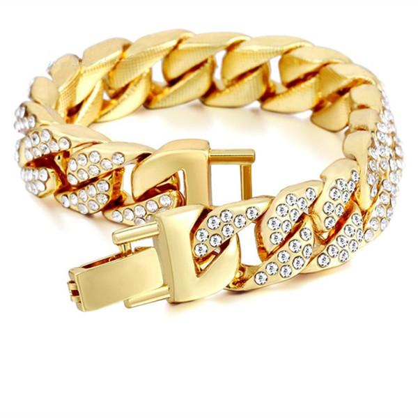 Men's Gold Plated Diamond Bracelet Europe and America Hip Hop Inlay Rhinestone Men's Bracelet Creative Personality Gold Silver Bracelet