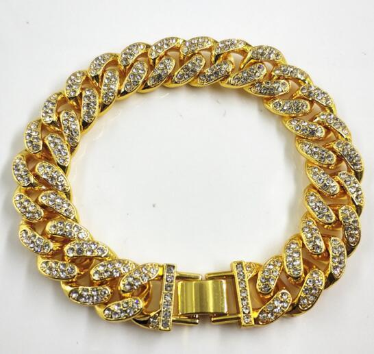 14 K oro 12 mm de ancho reloj hebilla llena de pedrería hiphop hip-hop rap joyería de cadena cubana simple pulsera gruesa