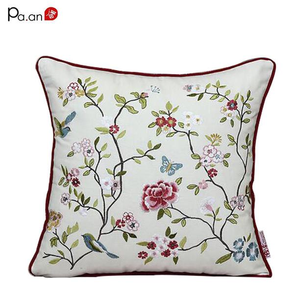 Moda Algodão Fronha Bordado Flor Pássaros Handmade Capas de Almofadas Cadeira de Escritório Artesanal Fronha Casa Têxtil