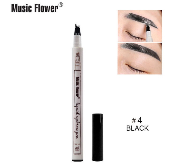 2018 In Stock Music Flower 4 Unique Micro Fork Tip Simulate Raw Eyebrows 4 Pointed Liquid Eyebrow Pen