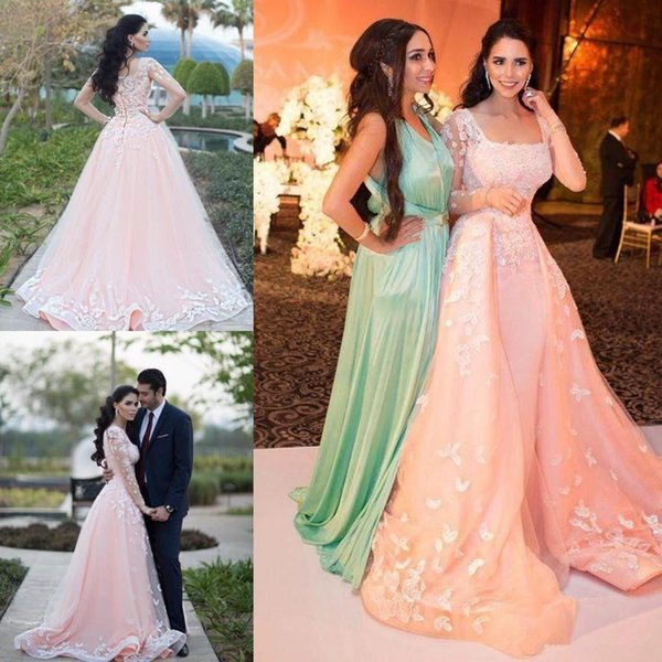 Gorgeous Blush Pink Square Overskirt Prom Dresses Illusion Long Sleeve Applique Floral Detachable Organza Beaded formal dresses evening 2018