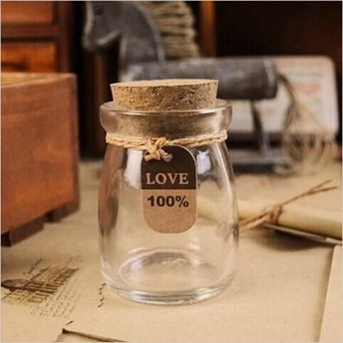 Free Shipping 5PCS Cute Mini Clear Cork Stopper Glass Bottles Vials Jars  Containers 100ml Small Wishing Bottle Size 55x75mm