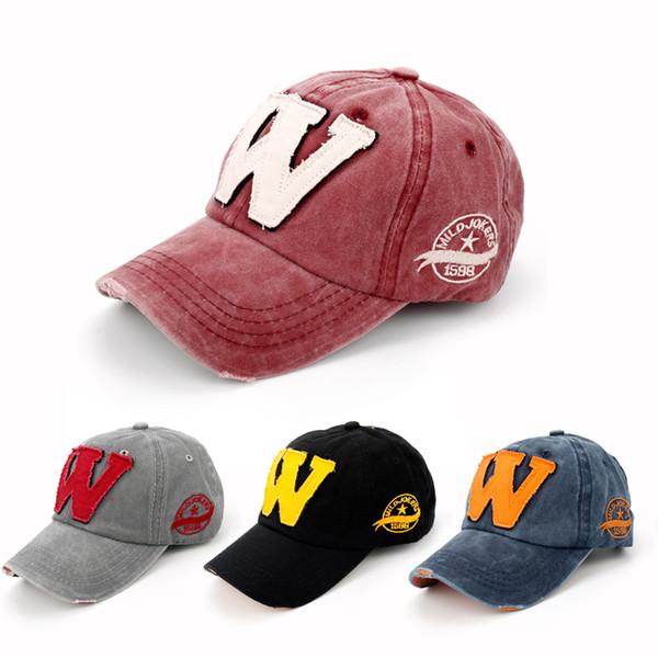 Sıcak Pamuk Nakış Mektup W Beyzbol Şapkası Snapback Erkekler Kadınlar için Kapaklar Kemik Casquette Şapka Spor Açık Özel Şapka