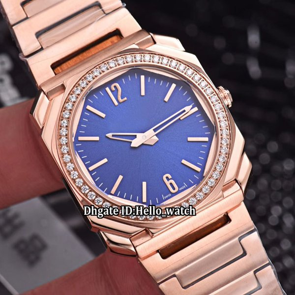 New 34mm Octo Solotempo 102105 Blue Dial Swiss Quartz Womens Watch Diamond Bezel Rose Gold Case Steel Band Sapphire Fashion Lady Watches