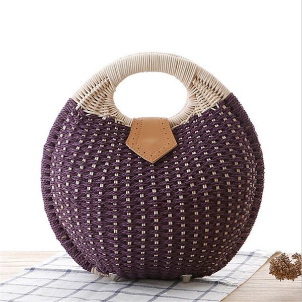 Wulekue Bohemian Summer Beach Bags Knitting Tote Handbag Woman Circle Round Handmade Woven Straw Rattan Bag