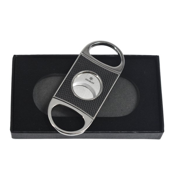 CARBON FIBER Cigar CUTTER Double Cut Blade Sharp Cigar Scissors Smooth Finger Stretch Pocket guillotine Cigar Cutter W Gift Box