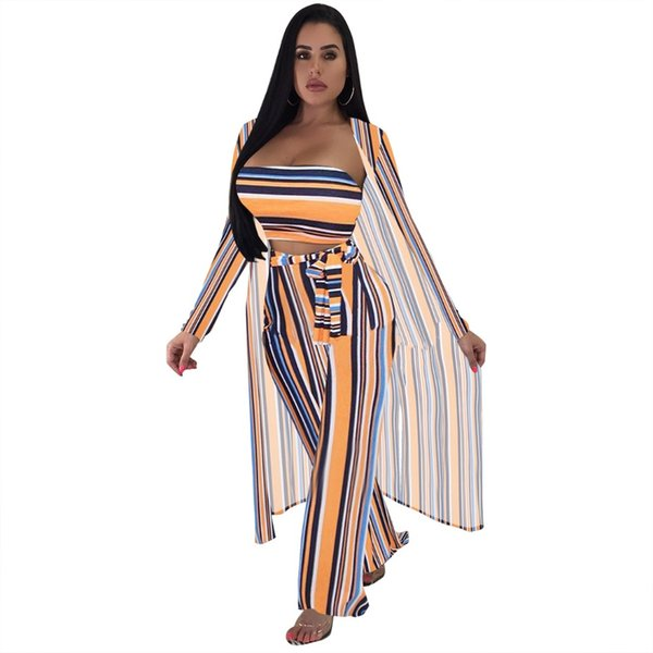 3 Piece Set Multi Striped Club Jumpsuit Autumn Long Sleeve Cardigan+Strapless Crop Top+Wide Leg Playsuit Women With Sashes