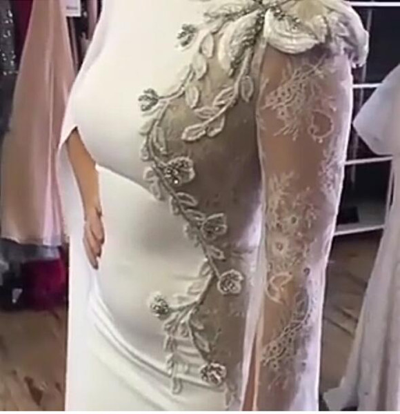Evening dress Long Dress Long Sleeve Spandex Lace Applique Jewel Sheath In 2018 the new clothes popular