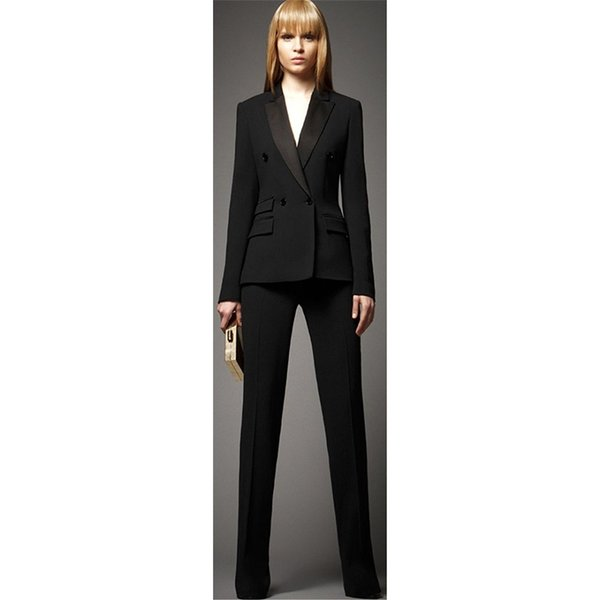 Ladies Business Suit Set (Jacket + Pants) Black Double Breasted Ms. Office Uniform Women's Formal Pants Two-Piece Suit
