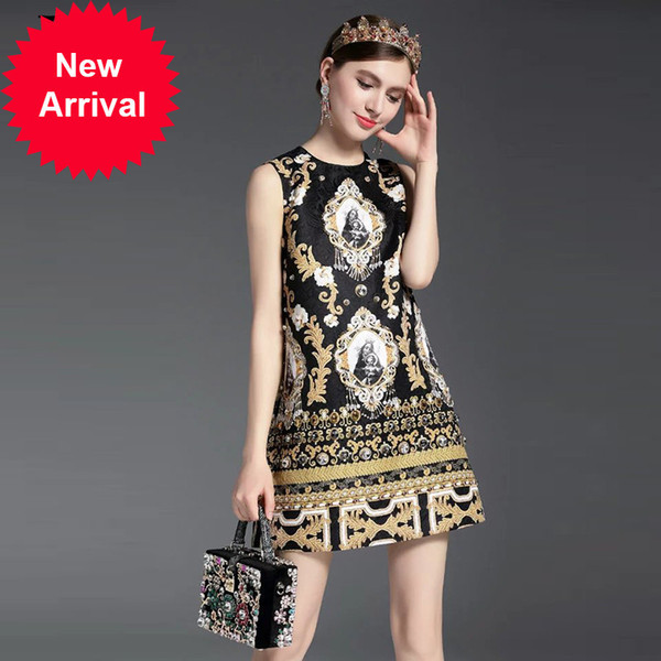 High Quality New 2017 Fashion Runway Summer Dress Women's Sleeveless Luxury Beading Jacquard Printed Vintage Straight Dress