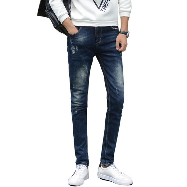 Summer Skinny Slim Jeans Denim Pants Men Scratched Jeans Business Casual Elastic Calca Trousers Classic Cowboys Young Cool