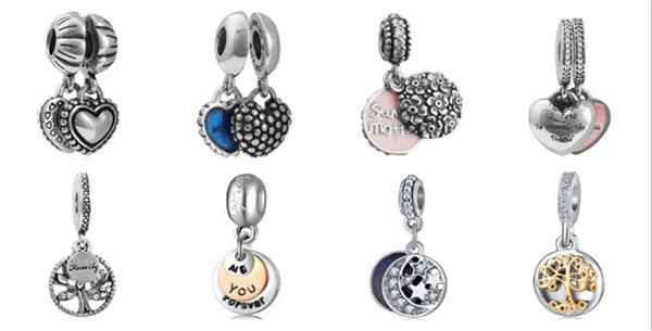 Wholesale Mixed Loose Silver Beads Charm EnamelAnna Belle Cinderella Pendant Beads Fit Women Pandora Bracelet Bangle Diy Jewelry KKA1170