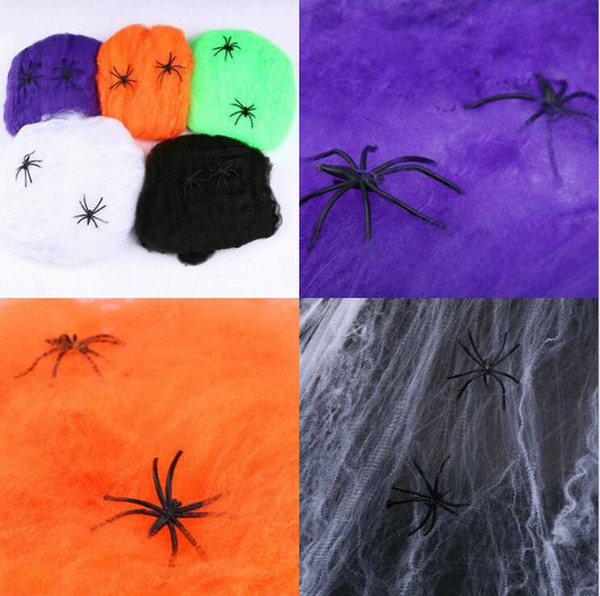 Scary Party Scene Props Stretchy Cobweb Spider Web Horror Halloween Decoration For Bar Haunted House 5 Colors