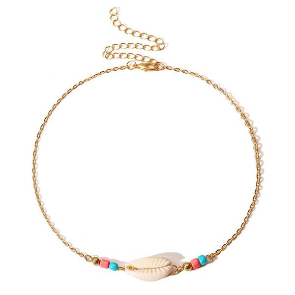 Neue Böhmische Strand Schmuck Einfache Gold Silber Farbe Kette Woven Bunte Perlen Gezogen Shell Schlüsselbein Halsband Halskette Für Frauen