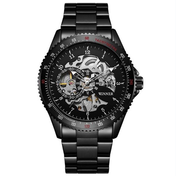 Winner Fashion Steampunk Black Stainless Steel Mens Watches Luminous Hands Automatic Mechanical Wrist Watch