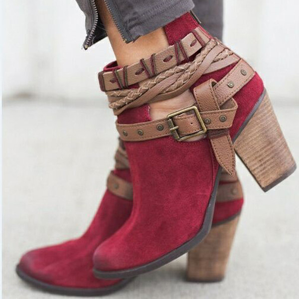 Autumn Spring Women Boots Fashion Casual Ladies shoes Martin boots Suede Leather Buckle High heeled zipper Daily Shoes