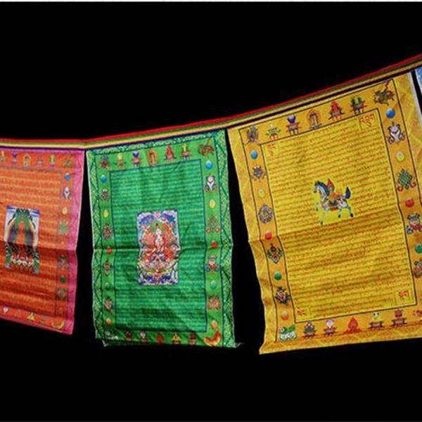 3 Meters Tibetan Suppliers Print 5 Colors Elements 10 Faces/string Silk Cloth Wind Horse Flag Buddhist Eight Auspicious Prayer Flags